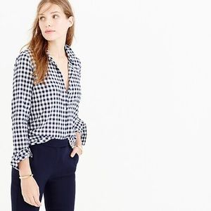 j crew navy and white gingham button front shirt